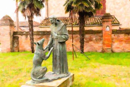 聖フランシスコとオオカミの会議の像のイラスト