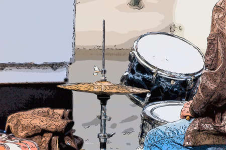 Street drummer playing music in a sunny day: drums, cymbals and drumsticks