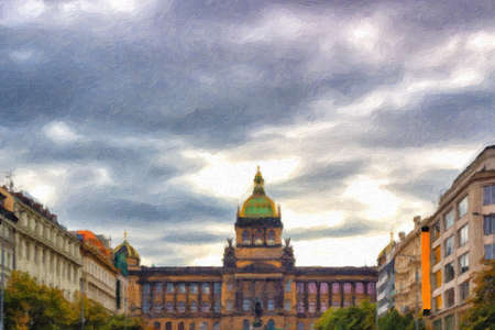 The Neorenaissance National Museum in Wenceslas square in Prague in Central Europe Imagens - 87598879