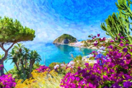 イタリアのイスキア島のビューの例: ティレニア海、bougaiunvillea glabra、岩、水、傘、晴れた日にカンパニア ナポリの前に島の砂と古い典型的な住宅