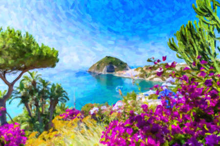 illustration of view of  Ischia island in Italy: Tyrrhenian sea, bougaiunvillea glabra, rocks,  water, umbrella, sand and old typical houses in the island in front of Naples in Campania region in a sunny day
