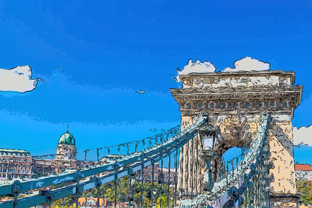 frontal view of the Chain Bridge in Budapest, Hungary Editorial