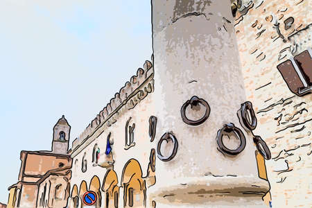 the Column of the Rings in Bertinoro in Italy, symbol of hospitality was built in white stone in  the XIII century with 12 rings, one for each of the local families. Every stranger who arrived and reined his horse to one of the rings was the guest of the