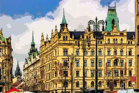 Buildings  and houses in the historical center of Prague Imagens