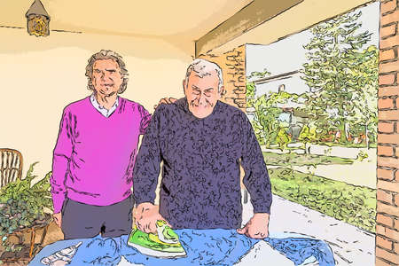 Senior strijkt in de patio van zijn huis terwijl een andere man liefdevol zijn hand op zijn schouder houdt