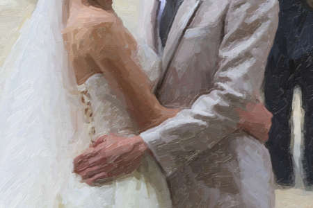 day: Asian Wedding couple embracing: white dressed bride and grey dressed groom