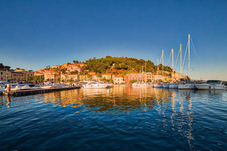 elba: houses and boats in the bay of island in Italy