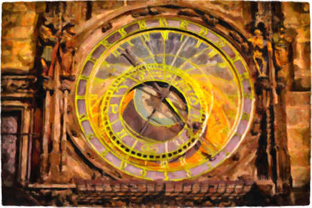 oil painting of the medieval astronomical clock in the Old Town square in Prague