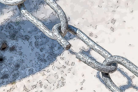 defines: the link in the chain is opening: this weak link defines the real strength of this steel chain Stock Photo