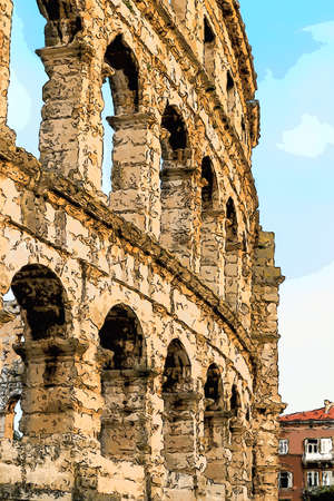Architecture details of the Roman amphitheatre in Pula, Croatia, an arena similar to Colosseum of Rome Stock Photo