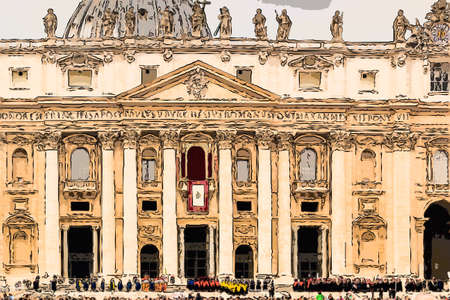 illustration of Saint Peter, Basilica in Vatican City: dome and facade