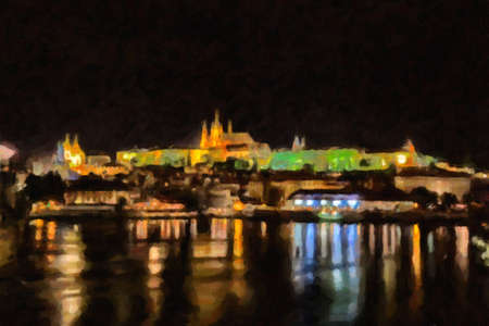 Night view of Prague: Charles bridge, St. Nicholas baroque church, Hradcany, the castle and St. Vitus Cathedral. Light traffics frames the buildings drawing regular lines