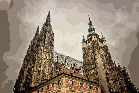 the exterior facade of the cathedral of St Vitus in Prague, a church with dark Gothic towers guarded by gargoyle: the main religious symbol of the Czech Republic Stock Photo