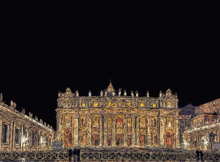 Night view of facade of church in Vatican City with Holy doors, columns and statue