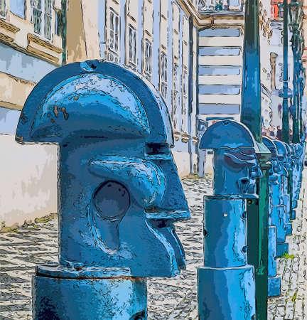 illustratie van de lichtblauwe metalen kubistische bolders in Malostranske namesti (kleine kwart plein) in Praag