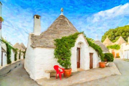 イタリアのプッリャ州のアルベロベッロのトゥルッリ。乾燥した石の壁と円錐形の屋根を持つこれらの典型的な住宅が世界と時間と魔法と歴史の間