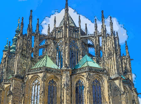 day: the exterior facade of the cathedral of St Vitus in Prague, a church with dark Gothic towers: this church is the main religious symbol of the Czech Republic Stock Photo