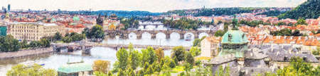 Scenic view of bridges on the Vltava river and of the historical center of Prague: buildings and roofotps of old town Imagens - 87644861