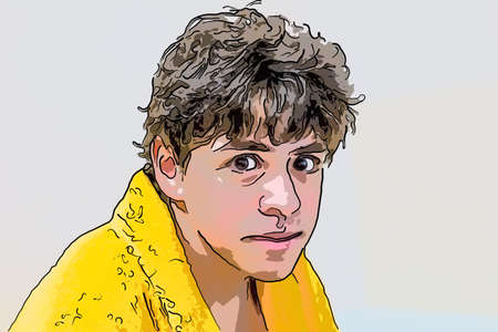 boy disheveled and slightly bent in yellow bathrobe makes faces