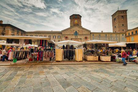 Weekly Street Market In Main Square Of Reggio Emilia In Italy Stock ...