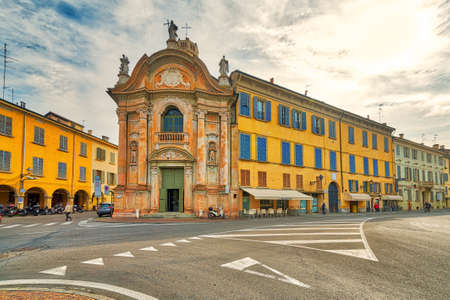 historical buildings and street of Reggio Emilia in Italy