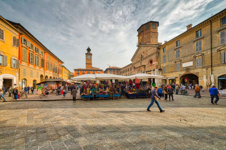 weekly street market in Reggio Emilia in Italy Editorial
