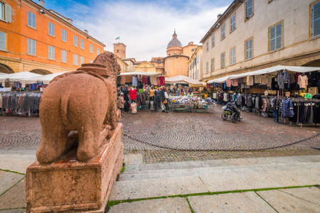 weekly street market in Little Square of Reggio Emilia in Italy