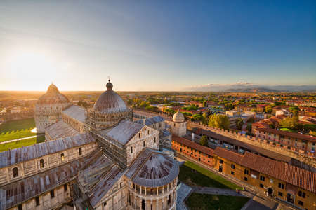 view of public Square of miracles in Pisa from the leaning tower, one of the most famous wonders of Italy