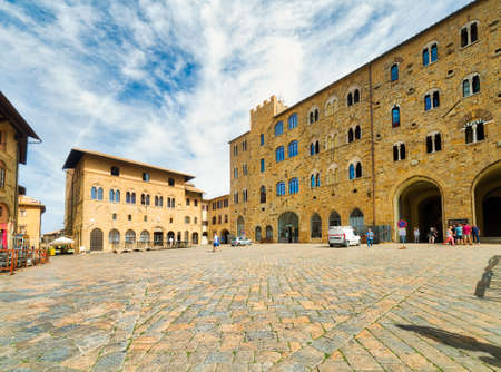 ancient buildings in the main square of Volterra, Italy