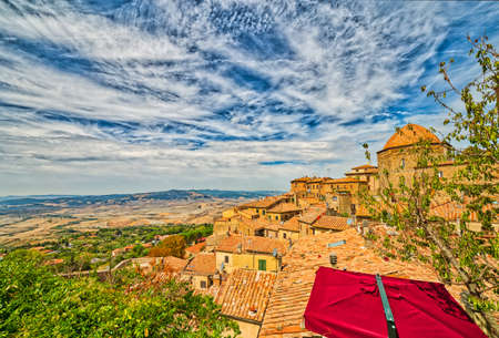 view of Volterra, a time travel through the roofs of the ancient buildings of this wonderful medieval town in Tuscany, Italy Stock Photo
