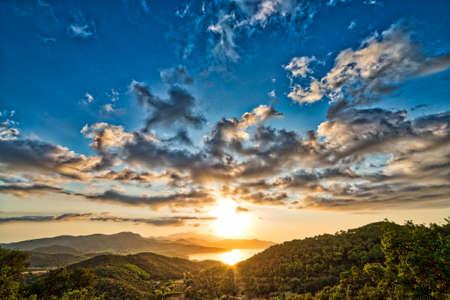 elba: sunset on Island of Elba in Italy Stock Photo