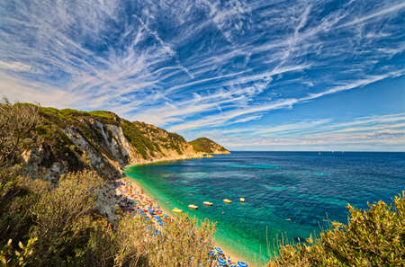 livorno: panoramic view of bay of island of Elba in Tuscany, Italy