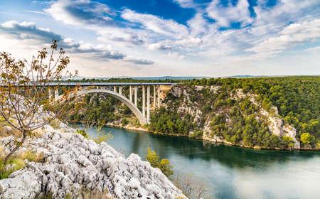 View over the bay of Skradin, ending of Krka river in Croatia