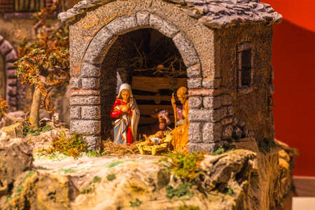 Christmas creche with Baby Jesus, Saint Joseph and Blessed Virgin Mary