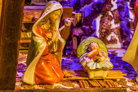 Christmas Nativity scene with Baby Jesus and Blessed Virgin Mary
