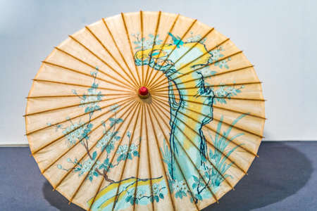 oriental parasol with drawings on the rice paper