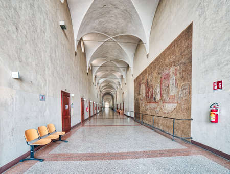 BOLOGNA, ITALY - DECEMBER 3, 2016: the the headquarters of the Rizzoli Hospital are set in the ancient convent of Saint Michael in Bosco becoming a touristic destination.