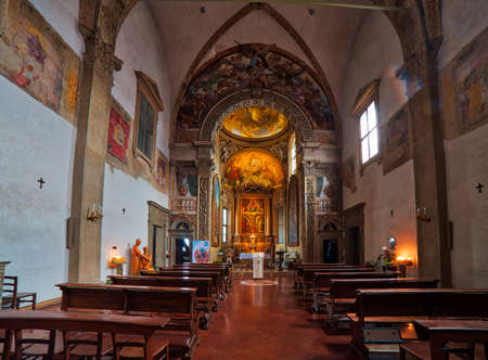 BOLOGNA, ITALY - DECEMBER 3, 2016: magnificent interiors of the Church of Saint Michael in Bosco are a popular destination for pilgrimage and tourism in Bologna, in particular during Christmas