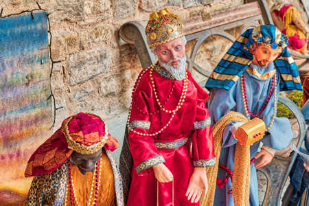 Three Wise Men in Christmas Nativity scene Stock Photo
