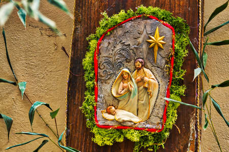 Christmas Nativity scene with The Holy Child, The Blessed Virgin Mary and Saint Joseph Stock Photo