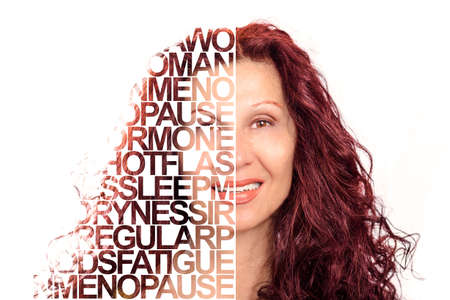 Text Portrait Poster of attractive mature lady with soft skin smiling isolated on white background, Caucasian woman but showing Indian or Arabic traits