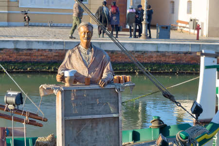 CESENATICO, ITALY - JANUARY 2, 2018: from the Feast of the Immaculate Conception to Epiphany, the Christmas Nativity Scene on the historic boats of the Leonardesque Canal in Cesenatico, Italy attracts thousands of tourists