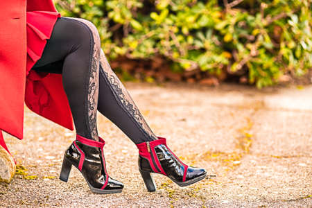 Closeup of sinuous and sensual legs with high-heeled ankle boots and sexy pantyhose