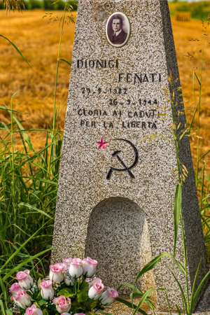 LUGO (RA), ITALY - JULY 3, 2016: In the countryside of Romagna the stones in memory of the victims of the fascism remind travelers of the terrible events of the past in Italy Editorial