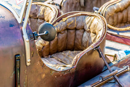 LUGO (RA), ITALY - AUGUST 28,2016: old cars and tourists arrive in Lugo for a Vintage Car Show