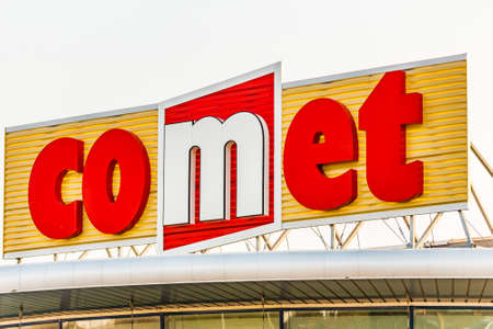 LUGO (RA) - FEBRUARY 11, 2018: Comet Group operates distribution of electrical equipment for professional customers and resale of household appliances and consumer electronics in Italy Editorial