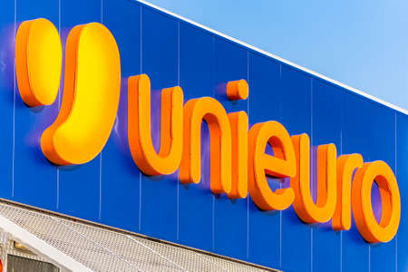 LUGO (RA) - FEBRUARY 11, 2018: Unieuro SpA operates the largest chain of consumer electronics and appliance stores in Italy Editorial