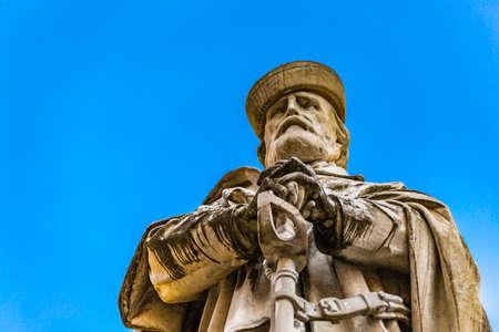 RAVENNA, ITALY - FEBRUARY 15, 2018:  on Valentine Day, under the statue in Garibaldi square, lovers remember the love story between Giuseppe Garibaldi and Anita