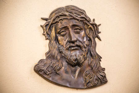 icon of Jesus Christ with the crown of thorns on wall