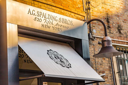 RAVENNA, ITALY - FEBRUARY 15, 2018: A.G. SPALDING AND BROS. sign of street shop. Spalding Sporting Goods Ltd owner of the brand granted license to Italian distributor until 31 December 2018. Redactioneel